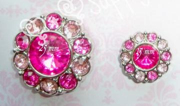 Hot Pink/Light Pink 15mm Rhinestone Button
