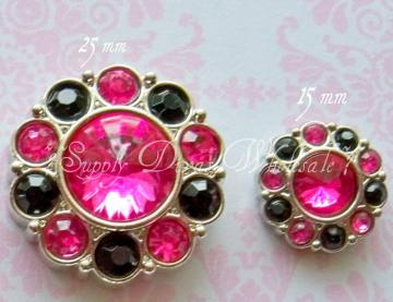 Hot Pink/Black 15mm Rhinestone Button