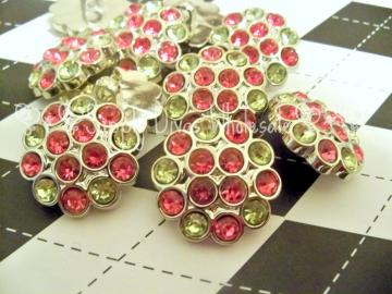 Hot Pink/Yellow 25mm Multi Rhinestone Button