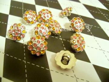 Neon Pink/Orange 15mm Multi Rhinestone Button