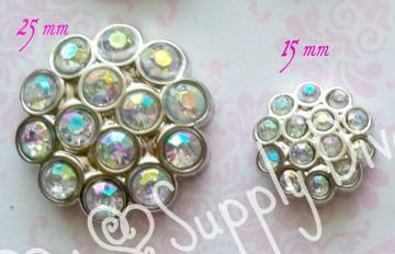 AB 15mm Multi Rhinestone Button