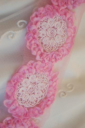 "Shabby Chic BUBBLEGUM PINK Rosette Trim with Inset Soutache Medallion 2.5"" inches wide"