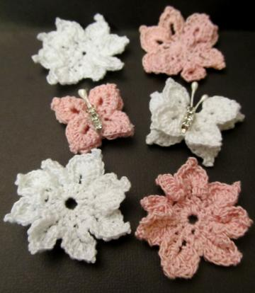 Pink & White Crochet Flowers & Butterflies