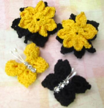 Black &amp; Yellow Crocheted Flowers &amp; Butterflies