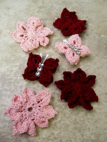 Pink & Red Crocheted Flowers & Butterflies