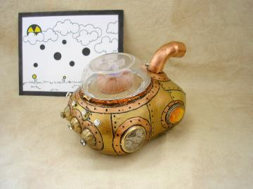 Unique Handmade Steampunk Altered art clay Sun Car sculpture with faux fire opal
