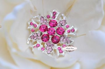RD147 GoRgEoUs Pink on Silver Rhinestone Embellishment Buttons - Add to flowers, invitations, frames, accessories ~ WHERE EVER!