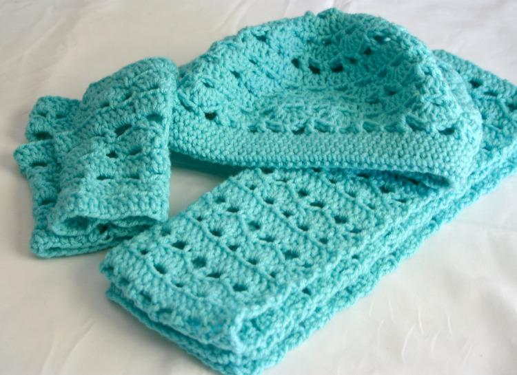 Beret scarf and fingerless gloves set pdf crochet pattern adult size