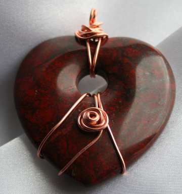 Jasper Wire Wrapped Heart Pendant Bead