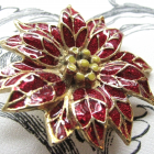 Poinsettia Cloisonne Flower Vintage Christmas Holiday Enameled Brooch