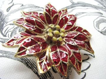 1960 Christmas Poinsettia Enameled Holiday Brooch