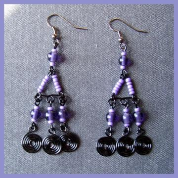 Lilac and Black Spiral Chandelier Earrings