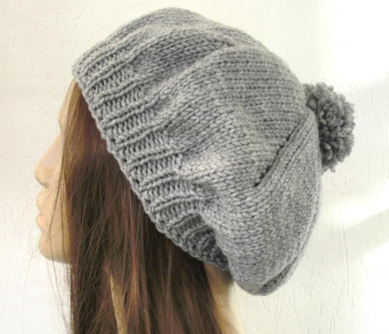 Knit Hat Pattern- Hat Knitting PATTERN PDF- Hat with Pompom ...