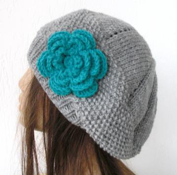 Hand Knit Hat - Winter hat -Womens hat- beret hat  Silver  Gray  turquoise  flower-  Slouchy hat  Beanie  beret  Fashion Winter Accessories