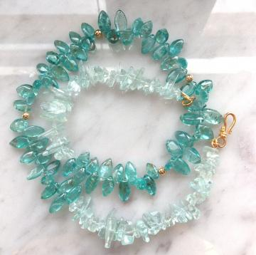 Aquamarine and Apatite Necklace, 14k goldfill beads, 24k gold vermeil S-clasp. Ocean Blue apatite, aquamarine nuggets.