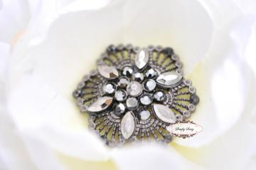 RD149 STEEL Rhinestone Embellishment Buttons - Add to flowers, invitations, frames, accessories ~ WHERE EVER!