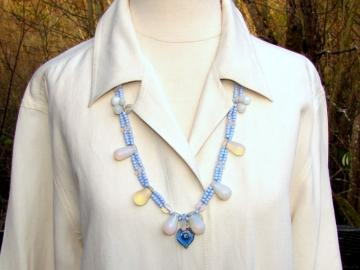 Opalescent African Trade Bead Necklace