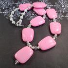 One Of a Kind Large Pink Gemstone, silver and Crystal Necklace