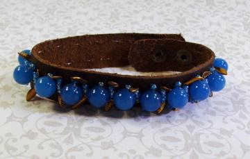 Brown Leather Turquoise Blue Gemstones and Gold  Bracelet