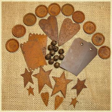 Rusted Metal Embellishments - Stars, Bells, Hearts,Bottle Caps, Tags & Signs - 34 Piece Set