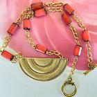 Matte  gold  tone  half  moon  pendant  and  red  wooden  beads  necklace