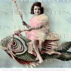 DIGITAL SCAN French Girl with Huge FISH fantasy postcard photo download Pisces Birthday card idea