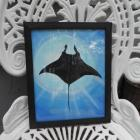 8x10 Stingray Silhouette underwater Acrylic painting 