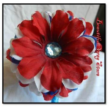 Red White Blue Flower Fascinator Headband