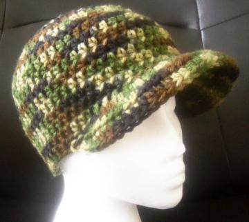 camo  crochet baseball (newsboy) cap