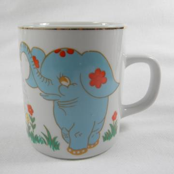 Gold Trim Mug - Blue Elephant and Flowers