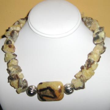 Septaria Septarian Calcite and Murano Pendant Neck