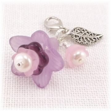 Beaded Zipper Pull Lavender and Pink Flowers