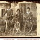 Retro DIGITAL scan BICYCLE Trio Vintage French postcard photo download Sepia collage