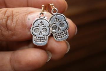 Silver Skull Earrings - Charm Pendant