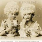 Digital Scan 18th Century girls having TEA china White wigs Marie Antoinette PARTY INVITATION
