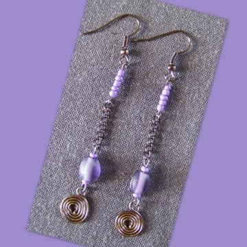 Steel Orchid Spiral Earrings