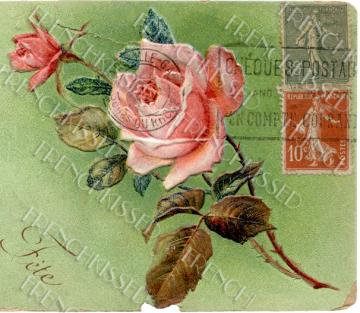 DIGITAL Scan Shabby Cottage Chic ROSE Collage Green Red French stamps antique Victorian Postcard photo download