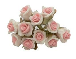 12 - 2-Tone Lt. Pink/White Paste (Porcelain) Rose Flower