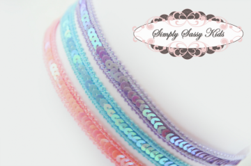 12 Skinny Sequin Stretch Headbands - ADD Flowers!