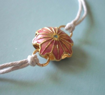 Pink Flower Necklace - Cloissone