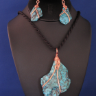 Chinese Turquoise Slab Set - amber colored wire