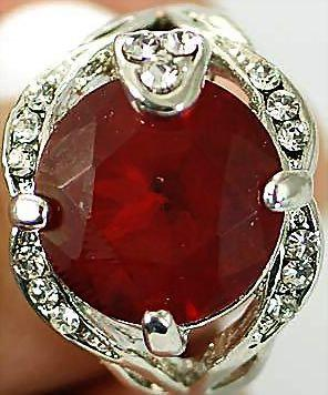 VINTAGE 70s Deco Inspired 18K White GP Lab Ruby and man made diamond/ Zircons size 6 1/2 ring