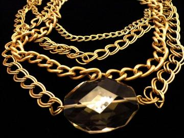 VINTAGE 60s Four Strands of Gold Tone linked chains with Large faceted topaz crystal pendant necklace