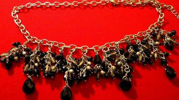 VINTAGE 60s Bib with clusters of jet black dangle beads on Silver tone chain necklace