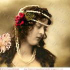 DIGITAL Scan Long haired woman PEARLS headdress Cherries Renaissance Antique French postcard photo download