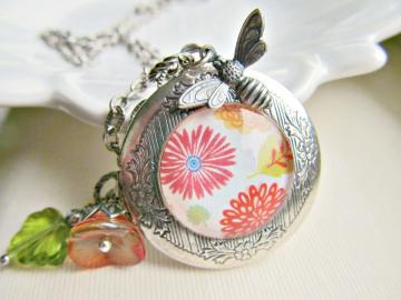 Flower Locket Charm Necklace in Antiqued Silver - Bee Keeper