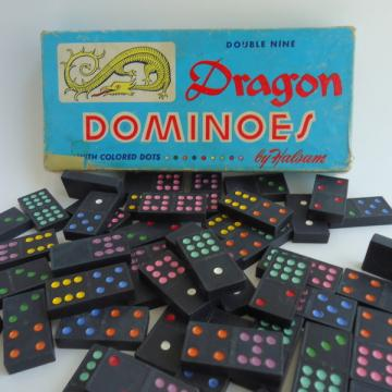 55 Vintage Wooden Dragon Dominoes Double Nines Halsam