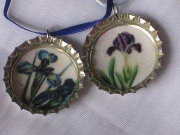 Bottlecap Pendants - Set of 2 - Vintage Iris