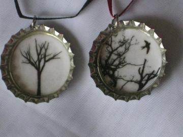 Bottlecap Pendants - Set of 2 - Trees