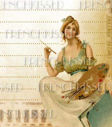DIGITAL scan Art Nouveau ARTIST Antique French postcard Palette Original JOURNALING Page Download